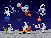 Astronauts vector characters set in flat cartoon style. Astronaut cartoon, character astronaut, person astronaut, human spaceman illustration