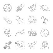 Astronomy and Space symbols collection. Thin line icons of the space theme. Contains such icons as Moon, Saturn, Earth, satellite, telescope, solar system, astronaut, moonrover. Editable Storke. EPS10