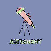 Cute cartoon hand drawn green, pink telescope. Art poster design. Vector doodle illustration with letteriing Astronomy isolated on blue background. Cosmos, galaxy, universe, science