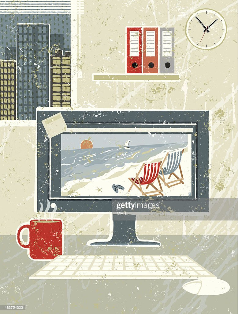At Work, Computer in the Office Showing beach Scene : Vector Art