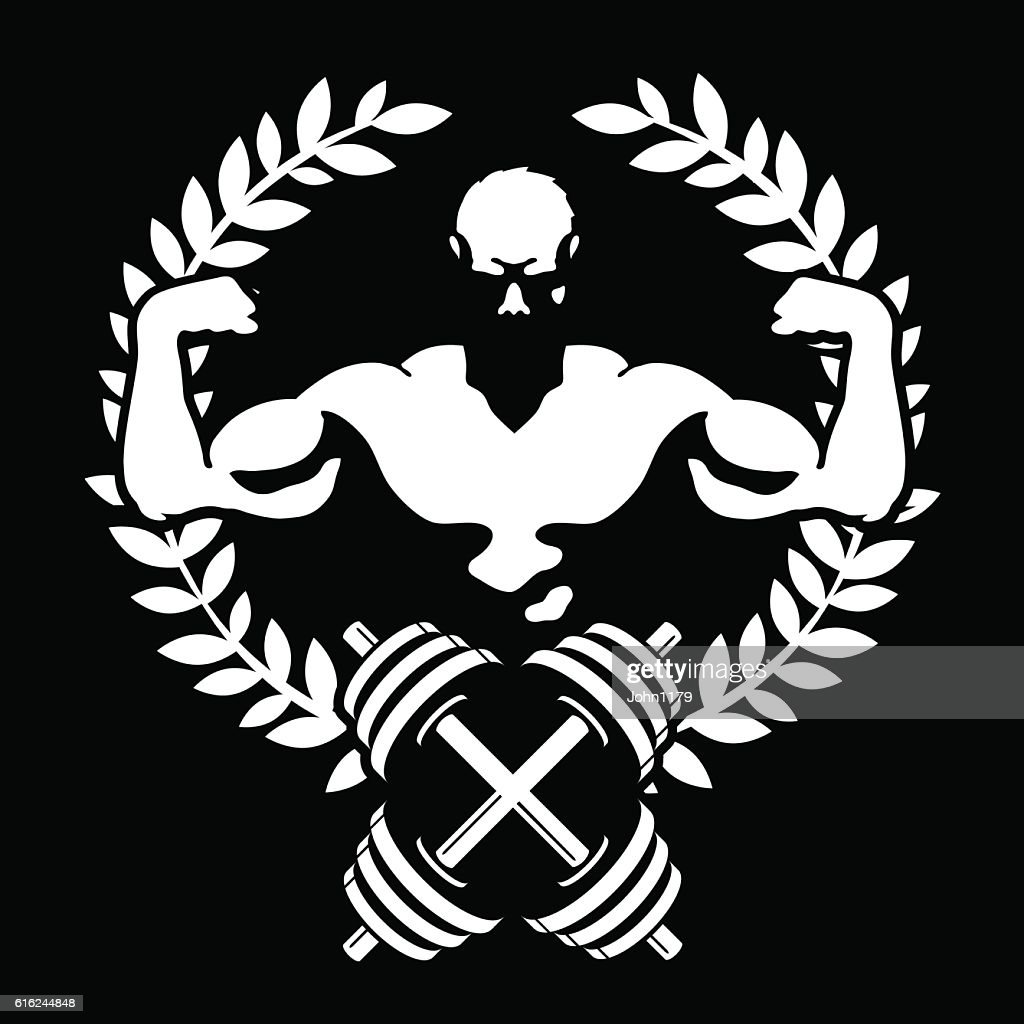 Athlete with muscles symbol for the gym : Arte vetorial