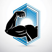 Athletic arm, lifter graphic vector illustration. Fitness workout.
