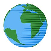 Atlantic Ocean and Africa on world of Earth for icon illustration or abstract concept of continents and oceans