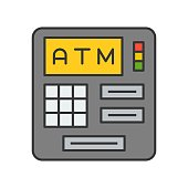 atm machine, bank and financial related icon, filled outline editable stroke