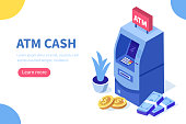 Atm machine and cash money. Can use for web banner, infographics, hero images. Flat isometric vector illustration isolated on white background.