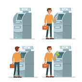 Man customer using  credit card in atm machine and withdraw money. Flat style vector illustration isolated on white  background.