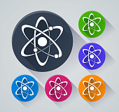 Illustration of atom circle icons with shadow
