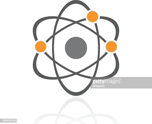 Atom icon on a white background.