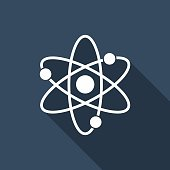 vector flat atom icon with long shadow