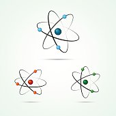 Vector atom icons with electrons on light background