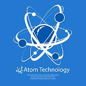 Atom model on blue & text, technology flat vector illustration