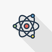 Atom, Physic Symbol thin line flat color icon. Linear vector illustration. Pictogram isolated on white background. Colorful long shadow design.