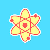 atom sticker with shadow isolated on blue background. concept of scientific knowledge, applied sciences and structure of the universe. flat style trendy modern design vector illustration