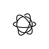 Atom structure line icon. Particle, model, orbiting. Science concept. Can be used for topics like quantum physics, chemistry, study, education.