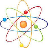 colorful atom over white background vector