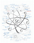 Atomic nucleus drawing on the paper