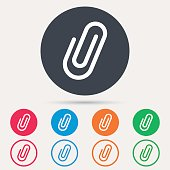 Attachment icon. Paper clip symbol. Round circle buttons. Colored flat web icons. Vector