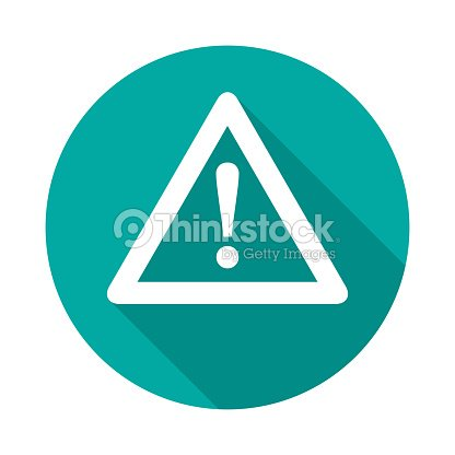 Attention circle icon with long shadow. Flat design style. : stock vector