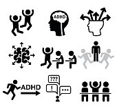 Health icons set - people wish ADD or ADHD icons isolated on white