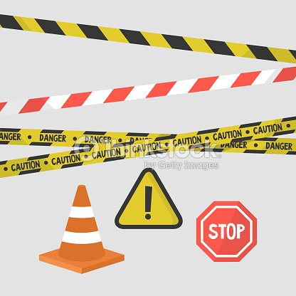 Achtungzeichen Gesetzt Bänder Verkehrszeichen Und Ausrüstung Der