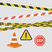 Attention signs set. Police tapes, road signs and equipment / flat editable vector illustration, clip art