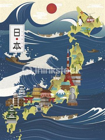 Attractive Japan Travel Map Vector Art Thinkstock - Japan map vector art
