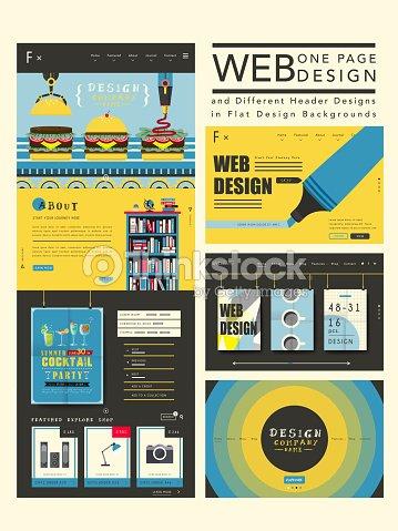 Attractive One Page Website Design Template Vector Art | Thinkstock