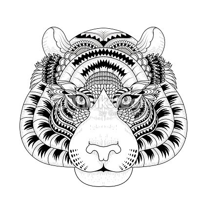 attractive tiger head coloring page vector art - Totem Pole Animals Coloring Pages