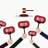 Auction and bidding concept. Hand holding auction paddle. People make bids. Flat vector illustration.