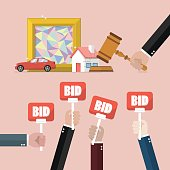Auction concept in flat style. Vector illustration