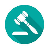Auction or judge gavel circle icon with long shadow. Flat design style. Gavel simple silhouette. Modern, minimalist, round icon in stylish colors. Web site page and mobile app design vector element.