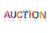 Auction. Splash vector watercolor rainbow pain sign