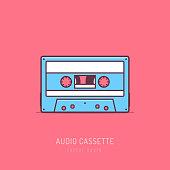 Retro audio cassette mono line art vector illustration