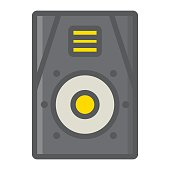 Audio Monitor filled outline icon, music and instrument, sound sign vector graphics, a colorful line pattern on a white background, eps 10.