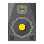 Audio Monitor flat icon, music and instrument, sound sign vector graphics, a colorful solid pattern on a white background, eps 10.