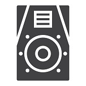 Audio Monitor glyph icon, music and instrument, sound sign vector graphics, a solid pattern on a white background, eps 10.
