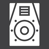 Audio Monitor glyph icon, music and instrument, sound sign vector graphics, a solid pattern on a black background, eps 10.