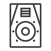 Audio Monitor line icon, music and instrument, sound sign vector graphics, a linear pattern on a white background, eps 10.