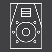 Audio Monitor line icon, music and instrument, sound sign vector graphics, a linear pattern on a black background, eps 10.