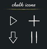 Audio player chalk icons set. Vector. Play, add, download, pause buttons