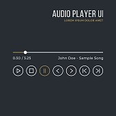 Audio player interface. Timeline, buttons, icons, artist name, song title. Media player ui, white, gold gui isolated on black background. Thin line design. Minimalistic dark theme. Vector illustration