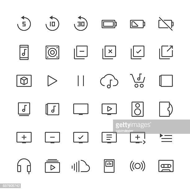 Audio Visual icons set 3   Thin Line series