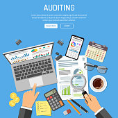 Auditing, Tax process calculation, accounting Concept. Auditor holds glass in hand and checks financial report. Charts on laptop and smartphone screens. Flat style icons. Isolated vector illustration