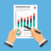 Auditing, Tax Process, Accounting Concept. Auditor Holds Pen in Hand and Checks Financial Report with Charts. Flat Style Icons Project Management, Analysis, Data. Isolated Vector Illustration
