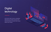 Augmented reality concept. Smart city technology. Landing page template. Web banner with laptop and currency. Isometric gradient style. Home page concept. UI design mockup