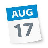 August 17 - Calendar Icon - Vector Illustration