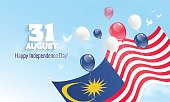 31 August. Malaysia Independence Day greeting card. Celebration background with flying balloons and waving flag. Vector illustration