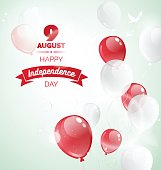 9 August. Singapore Independence Day greeting card. Celebration background  with flying balloons and text. Vector illustration
