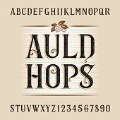 Auld hops alphabet vector font. Distressed letters and numbers. Vintage vector font for labels, headlines, posters etc.