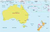 Australia and new zealand vector map